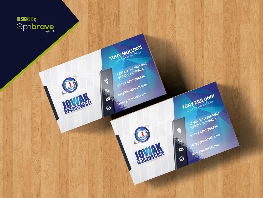 Business card design for jowak technologies u ltd optibrave share reheart Gallery